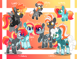 Size: 4500x3411 | Tagged: safe, artist:crazysketch101, oc, oc only, oc:alice looncrest, oc:crazy looncrest, oc:dippy looncrest, oc:loco looncrest, oc:loony looncrest, oc:odd looncrest, oc:screwey looncrest, oc:zainey looncrest, pegasus, pony, family