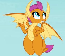 Size: 1284x1110 | Tagged: safe, edit, edited screencap, screencap, smolder, dragon, dragoness, female, flying, hand on hip, thighs