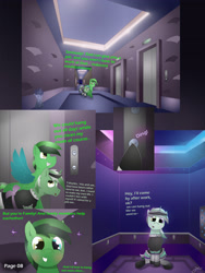Size: 2600x3462 | Tagged: safe, artist:jesterpi, oc, oc:jester pi, oc:shining emerald, pegasus, pony, comic:a jester's tale, chatting, city, clothes, comic, cute, elevator, evening, hall, happy, heading out, hotel, lights, maid, manehattan, night, shy, sitting, smiling