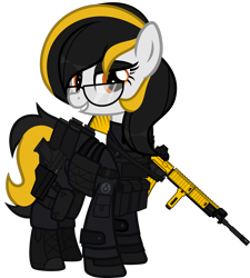 Size: 1920x2135 | Tagged: safe, artist:n0kkun, oc, oc only, oc:zealous stripes, earth pony, pony, armor, assault rifle, bedroom eyes, boots, call of duty, clothes, commission, eyeshadow, female, glasses, gloves, grin, gun, handgun, knee pads, m4a1, makeup, mare, modern warfare, pants, pistol, rifle, shoes, simple background, smiling, solo, transparent background, weapon