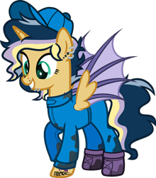 Size: 1920x2177 | Tagged: safe, artist:n0kkun, oc, oc only, oc:hightune stormblazer, alicorn, bat pony, bat pony alicorn, pony, icey-verse, alicorn oc, baseball cap, bat pony oc, bat wings, boots, cap, clothes, ear piercing, earring, female, grin, hat, horn, jewelry, jumpsuit, lip piercing, mare, mechanic, multicolored hair, nose piercing, offspring, oil, parent:oc:elizabat stormfeather, parent:oc:trail blazer (ice1517), parents:oc x oc, piercing, raised hoof, shoes, simple background, smiling, solo, tattoo, transparent background, wings