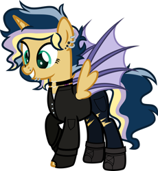 Size: 1920x2084 | Tagged: safe, artist:n0kkun, oc, oc only, oc:hightune stormblazer, alicorn, bat pony, bat pony alicorn, pony, icey-verse, alicorn oc, bat pony oc, bat wings, boots, choker, clothes, ear piercing, earring, female, fingerless gloves, gloves, grin, horn, jacket, jeans, jewelry, leather jacket, lip piercing, mare, multicolored hair, nose piercing, offspring, pants, parent:oc:elizabat stormfeather, parent:oc:trail blazer (ice1517), parents:oc x oc, piercing, raised hoof, shoes, simple background, smiling, solo, tattoo, torn clothes, transparent background, wings