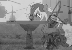 Size: 1976x1365 | Tagged: safe, alternate version, artist:oyks, oc, oc only, oc:elizabat stormfeather, alicorn, bat pony, bat pony alicorn, human, pony, alicorn oc, barrel, bat pony oc, bat wings, curtains, faic, female, flashback, grass, grayscale, gun, helicopter, helmet, horn, irl, irl human, mare, monochrome, photo, ptsd, raised hoof, sitting, solo, table, vietnam flashback, vietnam war, war, weapon, window, wings