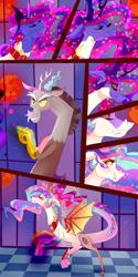 Size: 3000x6000   Tagged: safe, artist:xjenn9, discord, princess celestia, draconequus, comic:celestia's corruption, absurd resolution, celestequus, comic, corrupted, draconequified, duo, female, magic, male, pony to draconequus, species swap, story included, transformation