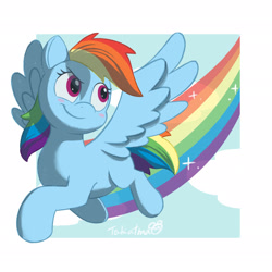 Size: 2048x2048   Tagged: safe, artist:takatmadisney, rainbow dash, pegasus, pony, blush sticker, blushing, cloud, cute, dashabetes, digital art, female, flying, mare, rainbow, rainbow trail, sky, smiling, solo, spread wings, tail, wings