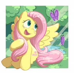 Size: 2048x2048 | Tagged: safe, artist:takatmadisney, fluttershy, butterfly, pegasus, pony, blush sticker, blushing, crepuscular rays, cute, cutie mark, daaaaaaaaaaaw, dappled sunlight, digital art, female, forest, happy, head turn, looking at something, mare, open mouth, shyabetes, sitting, smiling, solo, spread wings, tree, wings