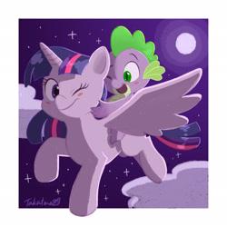 Size: 2048x2048 | Tagged: safe, artist:takatmadisney, spike, twilight sparkle, alicorn, dragon, pony, blush sticker, blushing, cloud, cute, digital art, duo, flying, full moon, happy, horn, moon, night, one eye closed, riding, sky, sparkle siblings, spikabetes, spike riding twilight, spread wings, stars, twiabetes, twilight sparkle (alicorn), wings