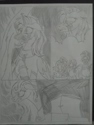 Size: 1944x2592   Tagged: safe, artist:princebluemoon3, fluttershy, rarity, starlight glimmer, zecora, oc, oc:princess mythic majestic, oc:queen galaxia, alicorn, pegasus, pony, unicorn, zebra, comic:the chaos within us, alicorn oc, angry, black and white, box, canterlot, canterlot castle, castle, chains, comic, commissioner:bigonionbean, crying, female, fusion, fusion:princess mythic majestic, fusion:queen galaxia, grayscale, horn, horrified, horror, imprisoned, mare, monochrome, sad, shocked, tears of pain, thought bubble, wings, writer:bigonionbean