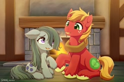 Size: 1920x1280 | Tagged: safe, artist:symbianl, big macintosh, marble pie, earth pony, pony, hearthbreakers, cute, female, fireplace, freckles, macabetes, male, marblebetes, marblemac, open mouth, shipping, straight