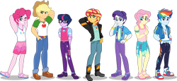 Size: 5000x2295 | Tagged: safe, artist:orin331, applejack, fluttershy, pinkie pie, rainbow dash, rarity, sci-twi, sunset shimmer, twilight sparkle, equestria girls, absurd resolution, alternate hairstyle, applejack (male), applejack's hat, belt, boots, bubble berry, butterscotch, clothes, converse, cowboy boots, cowboy hat, dusk shine, elusive, equestria guys, feet, freckles, geode of empathy, geode of fauna, geode of shielding, geode of sugar bombs, geode of super speed, geode of super strength, geode of telekinesis, glasses, hat, hoodie, humane five, humane seven, humane six, jacket, jeans, magical geodes, male, male six, necktie, pants, rainbow blitz, rule 63, sandals, sci-dusk, shirt, shoes, shorts, simple background, sneakers, stetson, sunset glare, suspenders, sweatpants, t-shirt, tanktop, transparent background