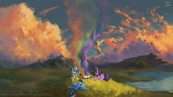 Size: 1920x1080 | Tagged: safe, artist:tinybenz, applejack, fluttershy, rainbow dash, twilight sparkle, oc, oc:lrivulet, oc:zoran, oc:左岸, alicorn, earth pony, pegasus, pony, basket, book, campfire, carrying, colorful, female, field, flying, hot air balloon, mare, mountain, on back, pegasus oc, rainbow, raised hoof, reading, scenery, scenery porn, smoke, sunglasses, twilight sparkle (alicorn), wallpaper, water, wings