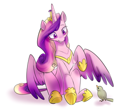 Size: 1680x1520 | Tagged: safe, artist:haden-2375, princess cadance, alicorn, bird, pony, cute, cutedance, female, grin, head tilt, hoof shoes, looking at each other, mare, raised hoof, simple background, sitting, smiling, solo, spread wings, white background, wings