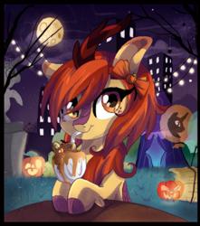 Size: 2423x2741   Tagged: safe, artist:spookyle, oc, oc only, oc:pumpkin spell, kirin, spider, balloon, bust, cute, female, freckles, full moon, grass, halloween, holiday, jack-o-lantern, kirin oc, looking at you, milkshake, moon, night, night sky, nightmare night, ocbetes, pumpkin, sky, skyscraper, smiling, solo, straw