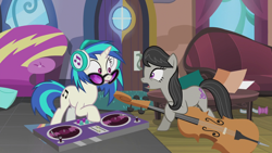 Size: 1920x1080 | Tagged: safe, edit, edited screencap, editor:slayerbvc, screencap, dj pon-3, octavia melody, vinyl scratch, earth pony, unicorn, slice of life (episode), accessory-less edit, bowtie, cello, coffee table, couch, female, headphones, mare, missing accessory, musical instrument, record, rug, turntable, vinyl and octavia's home