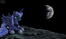Size: 854x512 | Tagged: safe, artist:dreamyskies, princess luna, alicorn, pony, complex background, earth, moon, scenery, signature, space
