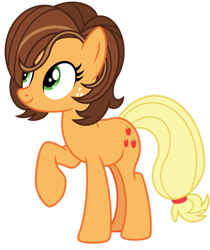 Size: 1024x1220   Tagged: safe, artist:emeraldblast63, applejack, earth pony, pony, my little pony: pony life, pony life, the root of it, alternate hairstyle, cute, female, g4.5 to g4, jackabetes, karen, karenjack, mare, simple background, solo, transparent background