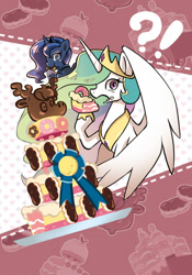 Size: 500x714 | Tagged: safe, artist:a-nup, princess celestia, princess luna, alicorn, pony, mmmystery on the friendship express, bust, cake, cakelestia, cute, donut, duo, eating, exclamation point, female, food, interrobang, mare, marzipan mascarpone meringue madness, open mouth, question mark, ribbon, royal sisters, sisters
