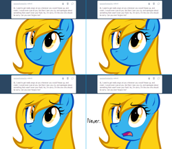 Size: 1282x1112   Tagged: safe, artist:marytheechidna, oc, oc:internet explorer, earth pony, pony, ask internet explorer, ask, bait and switch, blue coat, browser ponies, face, female, internet explorer, looking up, mane, mare, nope, open mouth, ponified, simple background, slow, smiling, solo, text, tongue out, tumblr, white background, yellow eyes, yellow mane