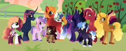 Size: 1280x516 | Tagged: safe, artist:vintagefeline, big macintosh, twilight sparkle, oc, oc:bumble comet, oc:caramel kingston fair apple, oc:dusk constellation, oc:poppysweet meadow, oc:starkrimson nebula, oc:startrotter soul, oc:twilight gaze, alicorn, earth pony, pony, unicorn, alternate design, baby, baby pony, bowtie, colored hooves, colt, curved horn, dappled, earth pony oc, ethereal mane, family, female, filly, freckles, glasses, horn, long horn, male, mare, neckerchief, offspring, parent:big macintosh, parent:twilight sparkle, parents:twimac, raised hoof, shipping, stallion, starry mane, straight, sweet apple acres, twilight sparkle (alicorn), twimac, unicorn oc, unshorn fetlocks