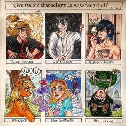 Size: 1080x1074 | Tagged: safe, artist:sirsaut, applejack, earth pony, human, pony, bowl, bust, chopsticks, clothes, crossover, deidara, eating, female, grin, hashibira inosuke, hat, jeff the killer, kimetsu no yaiba, knife, magic, male, mare, meme, my hero academia, naruto, outdoors, six fanarts, smiling, star butterfly, star vs the forces of evil, surprised, telekinesis, traditional art, tree, tsuyu asui, upside down