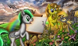 Size: 854x512 | Tagged: safe, artist:dreamyskies, oc, oc:dreamer skies, bird, butterfly, pegasus, pony, background pony, cloud, cloudy, confused, drops, flower, grass, grass field, looking at each other, open mouth, pegasus oc, pony oc, rainbow, scenery, scenery porn, signature, wings