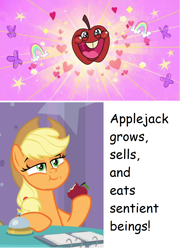 Size: 904x1256   Tagged: safe, edit, screencap, applejack, earth pony, pony, a trivial pursuit, my little pony: pony life, pony life, the 5 habits of highly effective ponies, :t, apple, apple tree, applejack's hat, basket, chewing, confident, cowboy hat, cropped, eating, eyes closed, faic, female, food, freckles, hat, heart, herbivore, holding, hooves on the table, laughing, lidded eyes, mare, ponytail, puffy cheeks, rainbow, raised eyebrow, raised hoof, sitting, smiling, smirk, smugjack, solo, stetson, talking, that pony sure does love apples, tree
