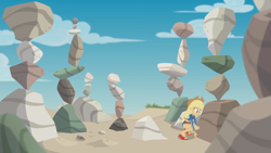 Size: 1920x1080   Tagged: safe, screencap, applejack, aww... baby turtles, equestria girls, equestria girls series, beach, clothes, female, geode of super strength, heel pop, magical geodes, rock, sandals, solo, swimsuit