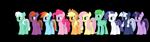 Size: 3840x1080 | Tagged: safe, artist:firefox195, artist:tomasdrah, applejack, fluttershy, pinkie pie, rainbow dash, rarity, skyra, twilight sparkle, oc, oc:anon, oc:saturn star, oc:silverlay, alicorn, earth pony, pegasus, pony, unicorn, 3d, blender, group, line-up, mane six, simple background, transparent background, twilight sparkle (alicorn)