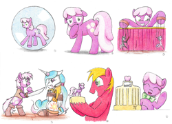 Size: 6560x4728   Tagged: safe, artist:philo5, big macintosh, cheerilee, diamond tiara, princess celestia, silver spoon, alicorn, earth pony, pony, blade, bondage, bowtie, bubble, butt, cash register, dance puppets dance, eyes closed, figurine, flowerbutt, grin, hoof over mouth, horn, horn ring, magic suppression, mutiny, puppet, puppet strings, puppeteer, ring, rope, rope bondage, smiling, souvenir, sphere, tied up, waving, wide eyes
