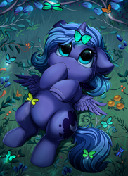 Size: 2550x3509 | Tagged: safe, artist:pridark, princess luna, alicorn, butterfly, pony, :<, cheek fluff, confused, cute, cutie mark, daaaaaaaaaaaw, ear fluff, eyes on the prize, female, filly, floppy ears, flower, fluffy, foal, grass, high res, hoof over mouth, leg fluff, looking at something, looking up, lunabetes, lying down, nature, on back, pridark is trying to murder us, reflection, solo, spread wings, underhoof, weapons-grade cute, wings, woona, younger