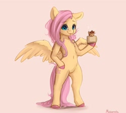 Size: 2794x2515 | Tagged: safe, artist:miokomata, fluttershy, oc, oc:coffee, pegasus, pony, unicorn, semi-anthro, belly button, bipedal, chest fluff, coffee mug, colored hooves, cup, cup of pony, duo, female, freckles, freckleshy, heart, looking at you, mare, micro, mug, simple background, smiling, solo focus