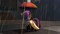 Size: 1600x900   Tagged: safe, artist:minimalistichipster, artist:rottenthemaker, twilight sparkle, pony, 3d, female, rain, raincoat, solo, source filmmaker, umbrella