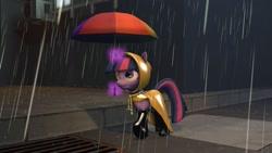 Size: 1600x900   Tagged: safe, artist:minimalistichipster, artist:rottenthemaker, twilight sparkle, pony, 3d, female, magic, rain, raincoat, solo, source filmmaker, umbrella