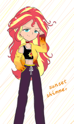 Size: 1080x1814 | Tagged: safe, artist:pink flame, sunset shimmer, equestria girls, belly button, clothes, female, hoodie, human coloration, midriff, pants, sports bra, sweatpants, unzipped