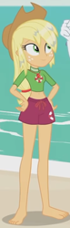 Size: 484x1563 | Tagged: safe, applejack, equestria girls, equestria girls series, turf war, barefoot, beach, belly button, clothes, cropped, feet, female, hand on hip, legs, lifeguard, lifeguard applejack, midriff, solo, wet hair