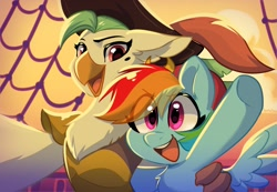 Size: 1731x1200   Tagged: safe, artist:colorfulcolor233, captain celaeno, rainbow dash, parrot pirates, pegasus, pony, anthro, my little pony: the movie, beauty mark, celaenobetes, chest fluff, cute, dashabetes, duo, female, hat, mare, open mouth, pirate, pirate hat, pirate rainbow dash, pirate ship, selfie, smiling