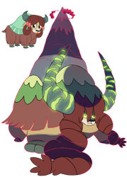Size: 1280x1792 | Tagged: safe, artist:heavysplatter, yona, yak, cloven hooves, crossover, dynamax, female, gigantamax, glowing eyes, horns, macro, mountain, pokemon sword and shield, pokémon, simple background, solo, transparent background, vector