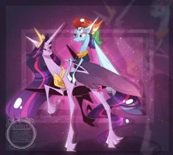 Size: 1024x917   Tagged: safe, artist:manella-art, rainbow dash, twilight sparkle, alicorn, pegasus, the last problem, older, older rainbow dash, princess twilight 2.0, twilight sparkle (alicorn), watermark