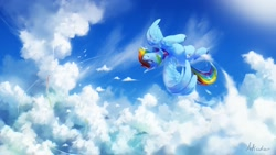 Size: 2560x1440 | Tagged: safe, artist:anticular, rainbow dash, pegasus, pony, cloud, cloudsdale, eyes closed, female, flying, mare, scenery, smiling, solo, spread wings, wings