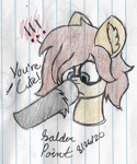 Size: 1484x1784 | Tagged: safe, artist:mlplayer dudez, oc, oc only, oc:heartbreak, oc:solder point, earth pony, pony, boop, bust, colored, cute, duo, ear fluff, hoof fluff, lined paper, nose wrinkle, offscreen character, signature, traditional art