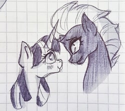 Size: 1040x922 | Tagged: safe, artist:galaxy.in.mind, tempest shadow, twilight sparkle, pony, unicorn, blushing, broken horn, female, graph paper, horn, lesbian, looking at each other, mare, shipping, smiling, tempestlight, traditional art, unicorn twilight