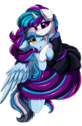 Size: 2343x3595 | Tagged: safe, artist:pridark, oc, oc only, oc:chrysocolla dawn, oc:flare, monster pony, octopony, original species, pegasus, pony, clothes, dress, high res, hug, open mouth, simple background, smiling, tentacles, transparent background
