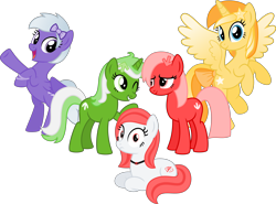Size: 6750x5000 | Tagged: safe, artist:melisareb, derpibooru exclusive, oc, oc only, oc:comment, oc:downvote, oc:favourite, oc:hide image, oc:upvote, alicorn, earth pony, pegasus, pony, unicorn, derpibooru, absurd resolution, bracelet, colored wings, cute, derpibooru ponified, female, flying, gradient wings, jewelry, looking at each other, looking at you, mare, meta, necklace, ocbetes, ponified, rearing, ribbon, show accurate, shrunken pupils, simple background, sitting, transparent background, vector, wings
