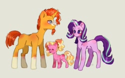 Size: 1240x768   Tagged: safe, artist:lunar_cosmos, luster dawn, starlight glimmer, sunburst, pony, unicorn, adorkable, blaze (coat marking), coat markings, cute, daaaaaaaaaaaw, dork, facial markings, father and child, father and daughter, female, filly, filly luster dawn, glasses, glimmerbetes, gray background, happy family, headcanon, luster dawn is starlight's and sunburst's daughter, lusterbetes, male, mama starlight, mare, mother and child, mother and daughter, offspring, papa sunburst, parent:starlight glimmer, parent:sunburst, parents and child, parents:starburst, simple background, socks (coat markings), stallion, sunbetes, sunburst's glasses