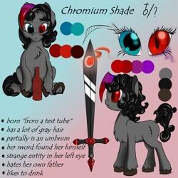 Size: 1280x1280   Tagged: safe, artist:daisyminttea, oc, oc only, oc:chromium shade, hybrid, pony, umbrum, bottle, eye, eyes, female, hybrid oc, mare, reference sheet, simple background, sword, text, weapon