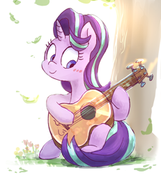 Size: 1224x1322 | Tagged: safe, artist:nendo, starlight glimmer, pony, unicorn, blushing, cute, female, glimmerbetes, guitar, hoof hold, horn, mare, musical instrument, pixiv, sitting, smiling, solo, tree
