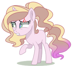 Size: 1280x1135 | Tagged: safe, artist:venomous-cookietwt, oc, oc only, pony, unicorn, adoptable, blank flank, eye scar, female, gritted teeth, magical lesbian spawn, mare, multicolored hair, offspring, parent:luster dawn, parent:potion nova, parents:lusternova, raised hoof, scar, simple background, solo, transparent background