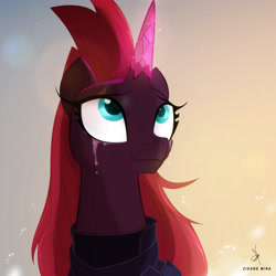 Size: 1984x1984   Tagged: safe, alternate version, artist:zidanemina, fizzlepop berrytwist, tempest shadow, pony, unicorn, my little pony: the movie, alternate hairstyle, armor, bust, crying, crystal horn, female, horn, if only, long mane, looking at something, looking up, mare, prosthetic horn, prosthetics, solo, tears of joy, teary eyes, tempest gets her horn back