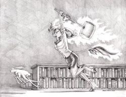 Size: 1400x1079 | Tagged: safe, artist:baron engel, oc, oc only, oc:rattletrap, insect, kirin, anthro, unguligrade anthro, ah my goddess, angry, anthro oc, bookshelf, female, glasses, grayscale, hammer, kirin oc, leonine tail, library, monochrome, open mouth, pencil drawing, story in the comments, story in the source, traditional art, unshorn fetlocks