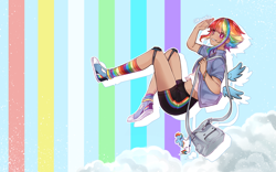 Size: 2560x1600 | Tagged: safe, artist:kawurin, rainbow dash, human, pegasus, pony, alternate hairstyle, ambiguous race, anime, bag, clothes, cloud, cloudsdale, converse, dark skin, ear piercing, earring, female, flying, grin, gym shorts, handbag, happy, humanized, jacket, jewelry, key ring, knee pads, mare, midriff, multicolored hair, piercing, pink eyes, rainbow, rainbow socks, salute, shirt, shoes, short hair, shorts, smiling, sneakers, socks, solo, striped socks, tanktop, watermark, winged humanization, wings